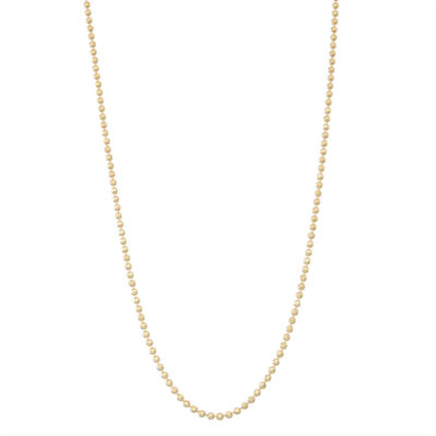 14K Gold 18 Inch Semisolid Bead Chain Necklace