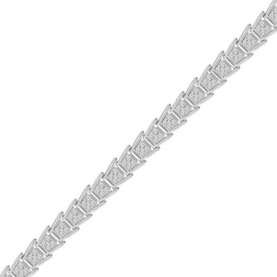 Womens 2 CT. T.W. White Diamond Sterling Silver Tennis Bracelet