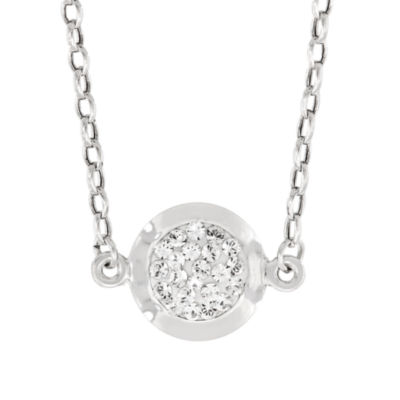 Womens Lab Created White Crystal Sterling Silver Round Pendant Necklace