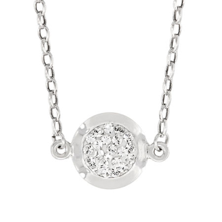 Womens Lab Created White Crystal Sterling Silver Round Pendant Necklace, One Size