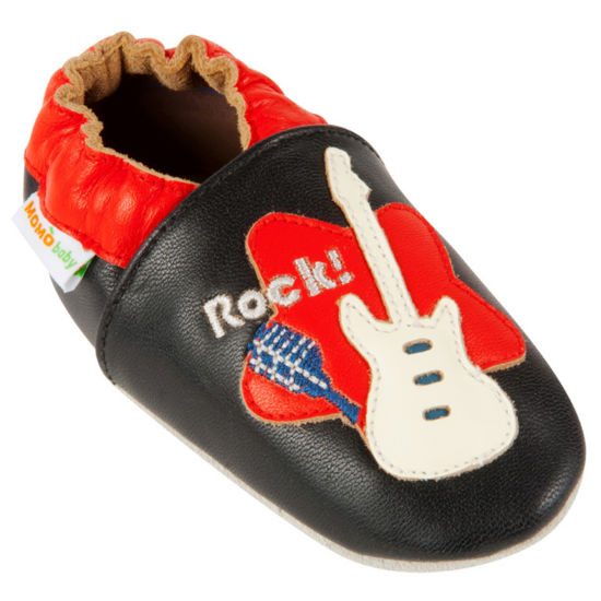 Momo Baby Soft Sole Leather Shoes - Rock Guitar