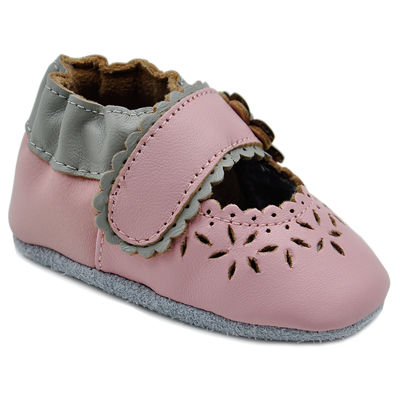 Soft Sole Leather Crib Bootie Baby Shoes - Cut Out Lacey Flower