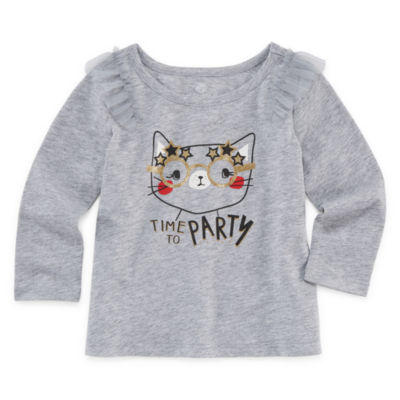 Okie Dokie Graphic Long Sleeve T-Shirt-Baby Girl NB-24M