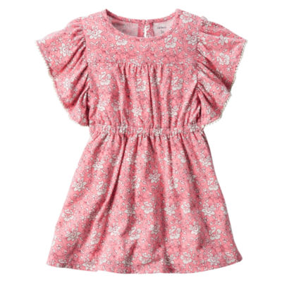 Carter's Short Sleeve Flutter Sleeve Floral A-Line Dress - Toddler Girls