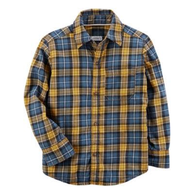 Carter's Long Sleeve Plaid Flannel Shirt-Toddler Boys