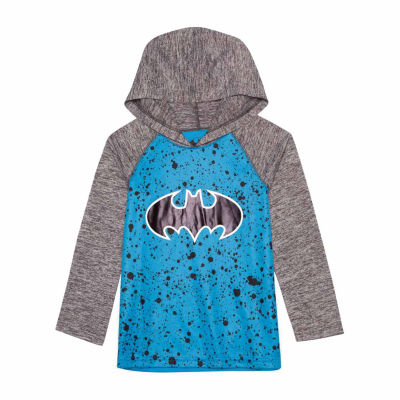 Long Sleeve Hooded Neck Batman T-Shirt-Preschool Boys