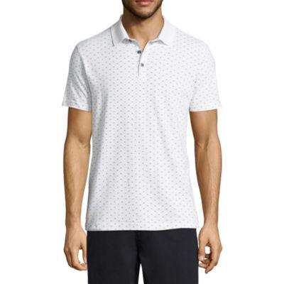 Claiborne Short Sleeve Pattern Jersey Polo Shirt