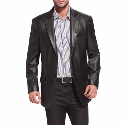 BGSD Men's Ben Two-Button Peak Lapel Lambskin Leather Blazer