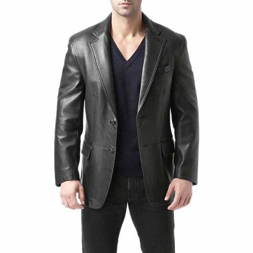 BGSD Men's Grant Two Button Lambskin Leather Blazer - Big and Tall