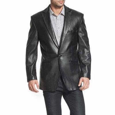 BGSD Men's Judd One-Button Lambskin Leather Blazer
