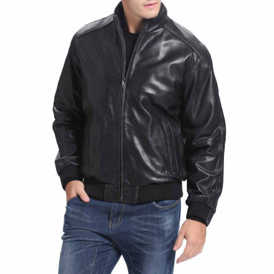 BGSD Men's Lambskin Leather Bomber Jacket - Big and Tall