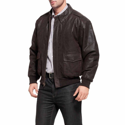 Landing Leathers Men's A-2 Distressed Goatskin Leather Flight Bomber Jacket