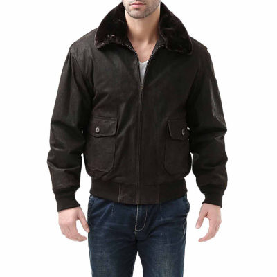 Landing Leathers Men's G-1 Distressed Goatskin Leather Flight Bomber Jacket - Big and Tall