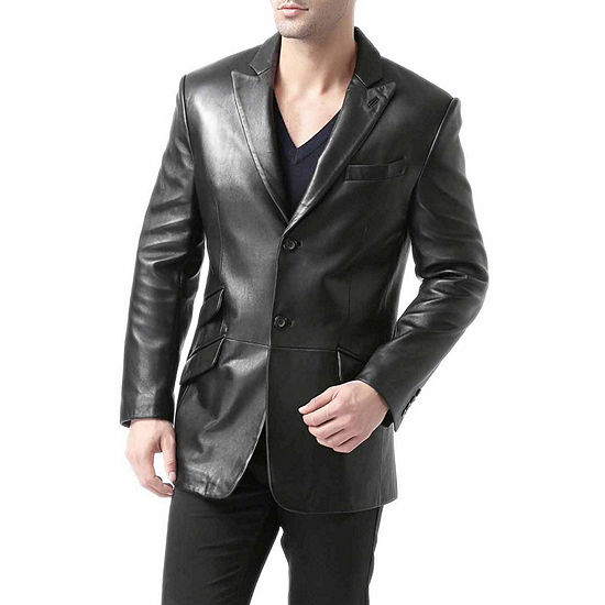 BGSD Men's Noah Peaked-Lapel Lambskin Leather Blazer