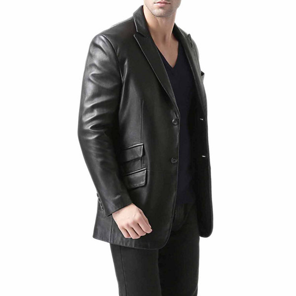 BGSD Men's Noah Peaked-Lapel Lambskin Leather Blazer - Big and Tall