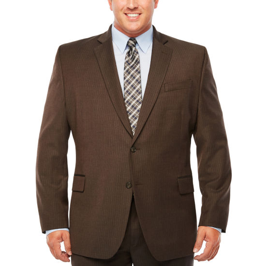 Stafford Travel Gray Brown Stripe Classic Fit Stretch Suit Jacket - Big & Tall