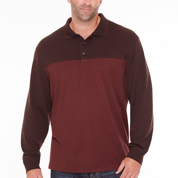 Van Heusen Long Sleeve Pattern Melange Polo Shirt Big and Tall