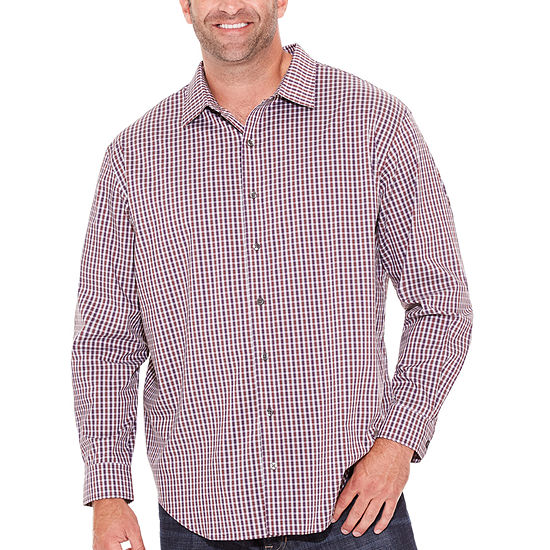 f53d083d3c2 Van Heusen Mens Long Sleeve Checked Button-Front Shirt-Big and Tall -  JCPenney