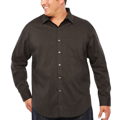Van Heusen Long Sleeve Stripe Button-Front Shirt-Big and Tall