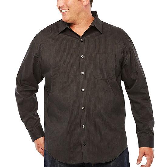Van Heusen Mens Long Sleeve Striped Button-Front Shirt Big and Tall