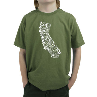 Los Angeles Pop Art California State Graphic T-Shirt Boys