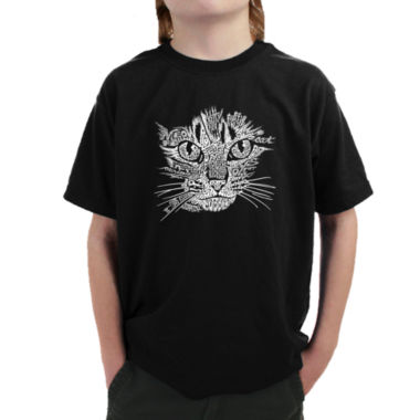 Los Angeles Pop Art Cat Face Graphic Boys T-Shirt