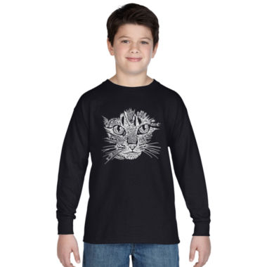 Los Angeles Pop Art Cat Face Long Sleeve Boys WordArt T-Shirt