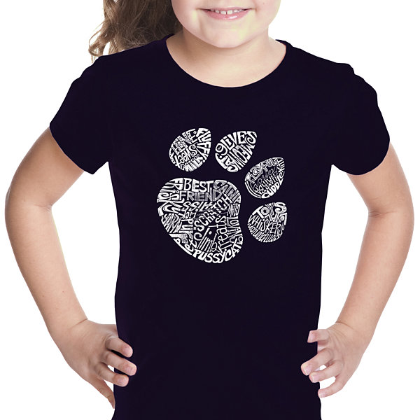 Los Angeles Pop Art Cat Paw Girls Graphic T-Shirt