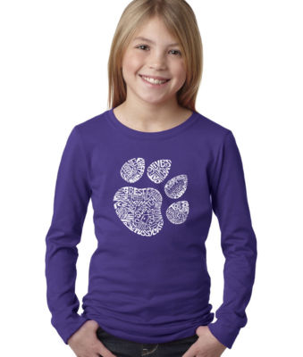 Los Angeles Pop Art Cat Paw Long Sleeve Girls WordArt T-Shirt