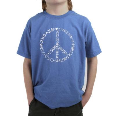 Los Angeles Pop Art Different Faiths Peace Sign Graphic T-Shirt Boys