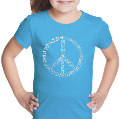 Los Angeles Pop Art Different Faiths Peace Sign Graphic T-Shirt Girls