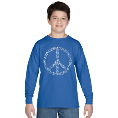 Los Angeles Pop Art Different Faiths Peace Sign Long Sleeve Boys Word Art T-Shirt