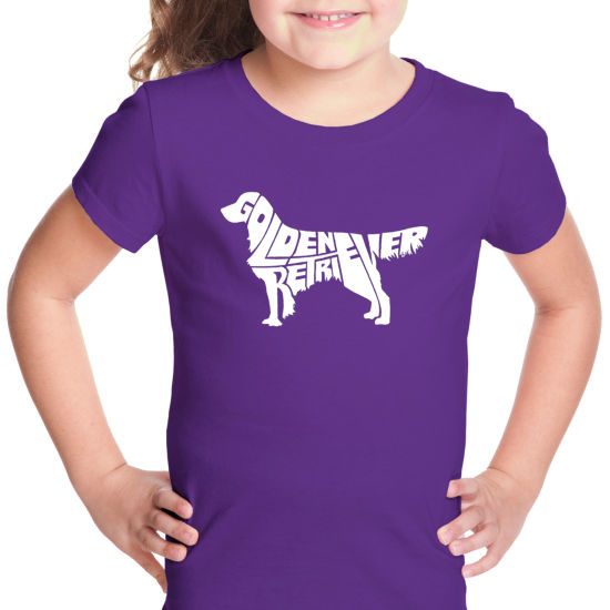 Los Angeles Pop Art Golden Retreiver Graphic T-Shirt Girls