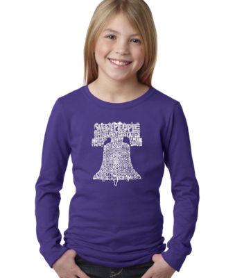 Los Angeles Pop Art Liberty Bell Long Sleeve GirlsWord Art T-Shirt