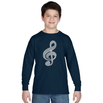 Los Angeles Pop Art Music Note Long Sleeve Boys Word Art T-Shirt