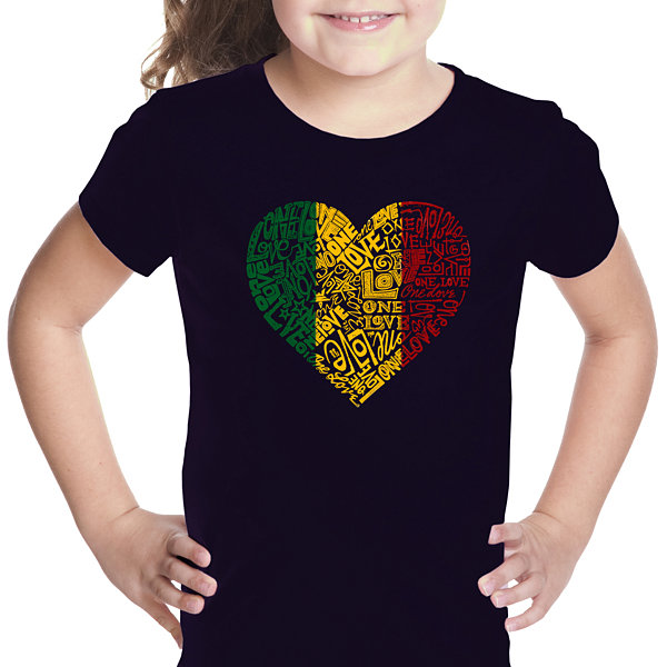 Los Angeles Pop Art One Love Heart Girls Graphic T-Shirt