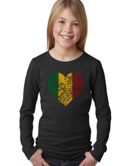 Los Angeles Pop Art One Love Heart Graphic T-Shirt Girls