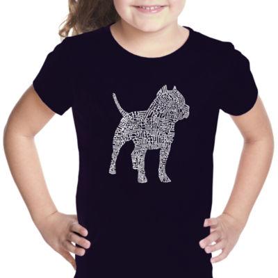 Los Angeles Pop Art Pitbull Girls Graphic T-Shirt