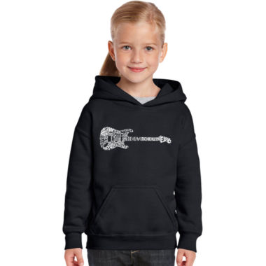 Los Angeles Pop Art Rock Guitar Long Sleeve GirlsWord Art Hoodie