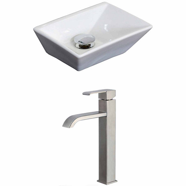 American Imaginations 12-in. W Above Counter White Vessel Set For Deck Mount Drilling - Faucet Included