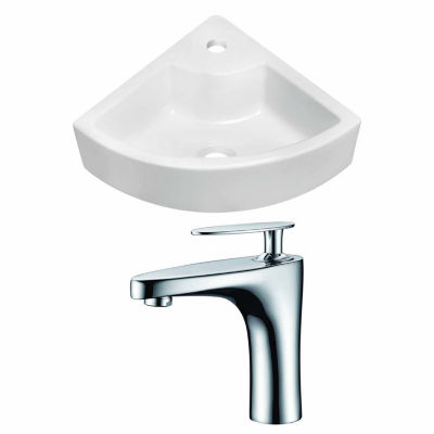 American Imaginations 26.25-in. W Wall Mount White Vessel Set For 1 Hole Center Faucet - Faucet Included