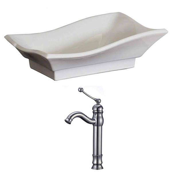 American Imaginations 20-in. W Above Counter White Vessel Set For Deck Mount Drilling - Faucet Included