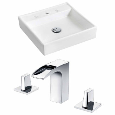 American Imaginations 17.5-in. W Wall Mount White Vessel Set For 3H8-in. Center Faucet - Faucet Included