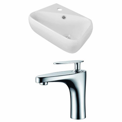 American Imaginations 17.5-in. W Wall Mount White Vessel Set For 1 Hole Left Faucet - Faucet Included