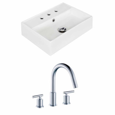 American Imaginations 19.75-in. W Wall Mount White Vessel Set For 3H8-in. Center Faucet - Faucet Included