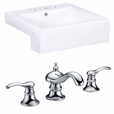 American Imaginations 20.25-in. W Semi-Recessed White Vessel Set For 3H8-in. Center Faucet - Faucet Included