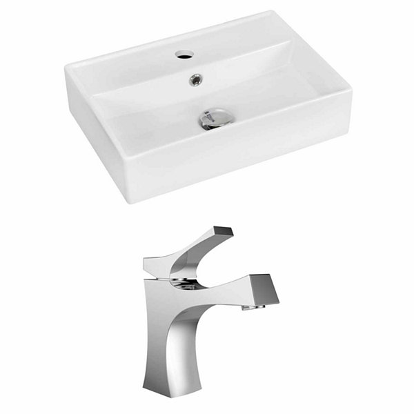 American Imaginations 19.75-in. W Wall Mount White Vessel Set For 1 Hole Center Faucet - Faucet Included