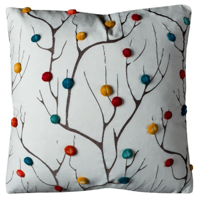 "Rizzy Home Abstract Dimensional Tree Square ThrowPillow - 20"" x 20"""