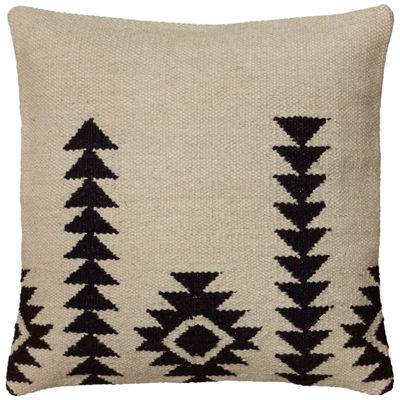 "Rizzy Home Arrow Stripes With Motif Square Throw Pillow - 18"" x 18"""