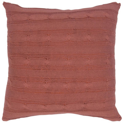 "Rizzy Home Cable Knit Buttoned Back Solid Square Throw Pillow - 18"" x 18"""